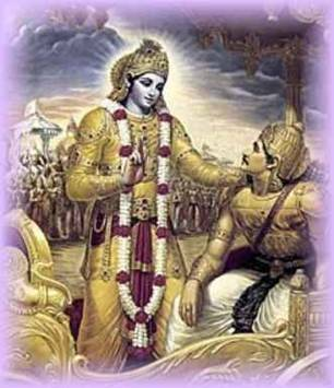 Arjuna with lord krishna explaining him his real self and power.