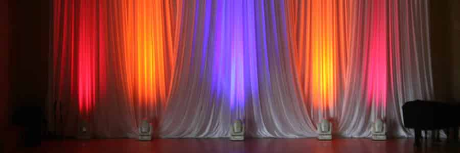 curtains between the stage and backstage