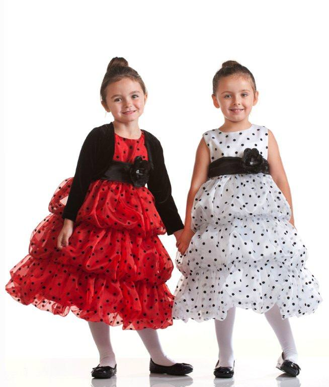 girls in red and white polka dots